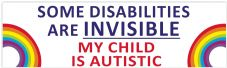 Some Disabilities Are Invisible My Child Is  Autistic  Car Van Sticker Waterproof Decal  Rainbow